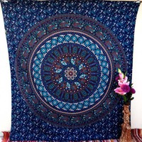 Floral Indian Blue Mandala Tapestry Wall Hanging Bedspread Bohemian Hippie Beach Bedsheet