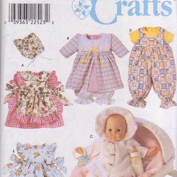 """Wardrobe with 5 complete outfits for Small (12""""-14"""") Medium (16""""-18"""") Large (20""""-22"""") baby doll dress pinafore romper Simplicity 8528 UNCUT"""