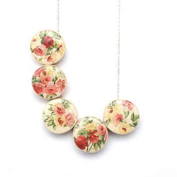 Spring floral statement necklace bubble necklace floral jewelry spring jewelry eco friendly jewelry starlightwoods
