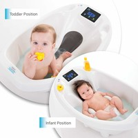 Newborn Adjustable Infant Baby Toddler Bath Tub Seat with Digital Thermometer and Scale