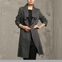 Fashion Women Gray Cardigan Plus Size Clothing Loose Fit Clothes Leisure Korea Style Coat Long Sleeve Outfits Cotton Trench Coat