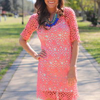 Coming Up Roses Dress, Coral