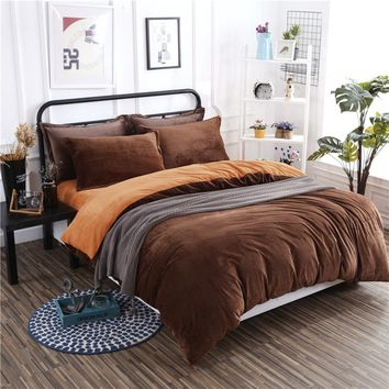 Winter New Arrival Warm Thick Flannel Bedding Set 4 Pcs Soft solid Brown orange bed Sheet Pillowcase Bed Linings Duvet Cover