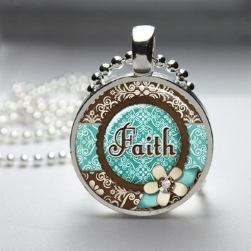 Faith Glass Tile Round Bezel Pendant Necklace