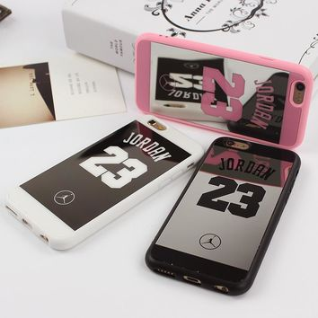 Jordan 23 Lovers Couple Soft Silicone Chrome Mirror Case for iphone 5 5s SE 6 6s 7 plu