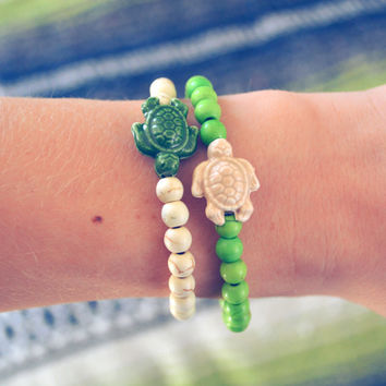 Turtle Bracelet Nautical Turtle Arm Candy Bohemian Porcelain Beach Turtle Jewelry Beaded Boho Hippie Arm Candy Turtle Stretchy Bracelet Cute