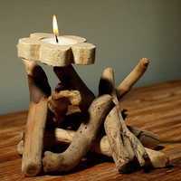 Unique Handmade Wood Candle Holder Set Home Gift 23
