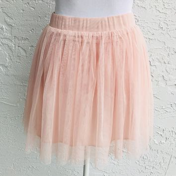 XXI Peach Tulle Circle Skirt, Size Small