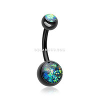 Colorline Opal Sparkle Shower Belly Button Ring (Black)
