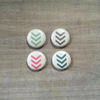"Sale - 1"" Button Magnets - Set of 4 - Arrows, Chevron, Pink, Blue, Mint Green, Grey/ Gray . Fridge magnets, Kitchen Magnet, Locker magnets,"