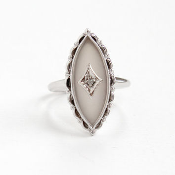 Vintage Art Deco Style 10K White Gold Rock Crystal & Diamond Ring - Size 6 1950s 1960s Camphor Glass Marquise Navette Statement Fine Jewelry