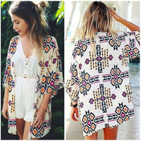 Women Geometry Printed Chiffon Shawl Kimono Cardigan Tops Cover Up Blouse [9222490116]