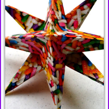 New Years Star Decoration, Christmas Star, Paper Star, Xmas Tree Ornament, Origami Star Decoration, Festive Decor, Holiday Decor, decor Star