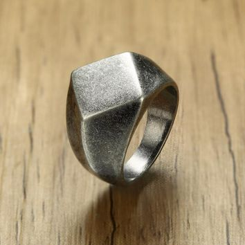 Irregular Flat Top Square Signet Ring for Men Stainless Steel Oxidized Silver Tone Vintage Rustic Wedding Band Male Jewelry
