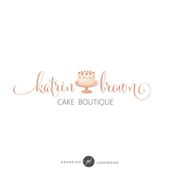 Cake logo design, Premade logo kit, Bakery branding kit, Watercolor cake logo, Brand package, Logo set, Cake boutique, Bakery shop, Logo 73
