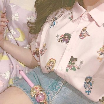 Kawaii Sailor Moon Print Blouse