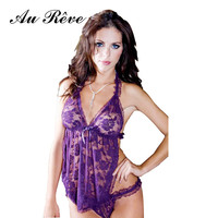 Au Reve Womens sexy lingerie erotic nightwear leotard uniform home teddy clothing dress nightshirt bellyband costome