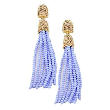 Gold and Purple Beaded Tassel Drop Dangle Earrings 344972