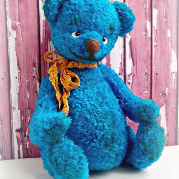 "Artist teddy bear 9.8"" ""Blue Bear Of Happiness"" OOAK teddy bear Stuffed bear Vintage Gift for him For man For her Handmade Teddy bears Blue"
