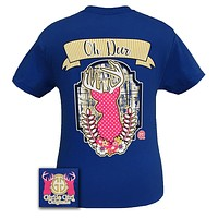 Girlie Girl Originals Collection Preppy Oh Deer Country Royal Blue T Shirt