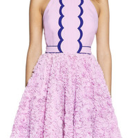 Purple Halter Neckline Applique Skater Dress with T-Shape Back