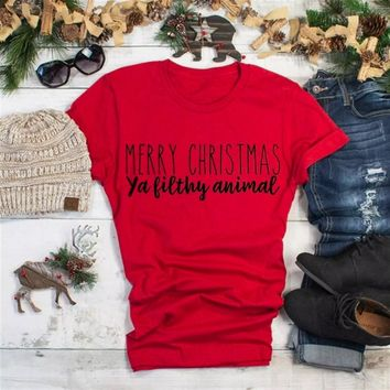 MERRY CHRISTMAS T-shirt slogan cotton fashion grunge tumblr party holiday gift celebrate slogan shirt vintage casual girl tees