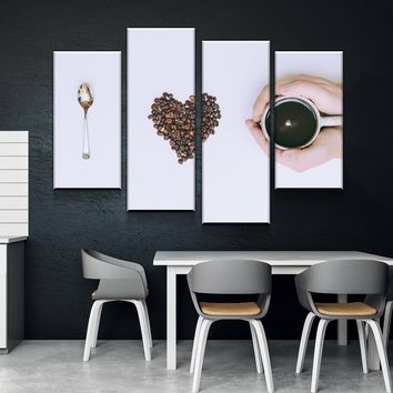 Coffee Love Kitchen and Dining Room Wall Decor Canvas Set
