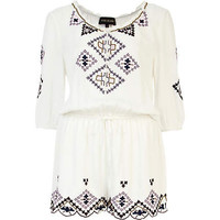 Cream embroidered playsuit