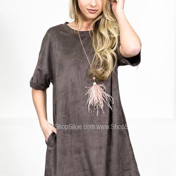Ray Charcoal Suede Dress