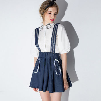 Blue Embroidered Suspender A-Line Swing Mini Dress With Elastic Waist