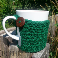 Crochet Coffee Cup Cozy - Cotton Mug Warmer - Cup Warmer With Coconut Button