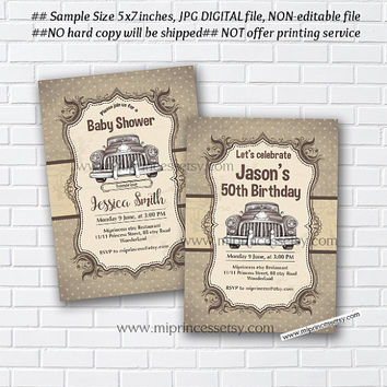 CAR Baby Shower Invitation, vintage car birthday invitation, vintage vehicle, Retro invitation, birthday party invitation - card 977