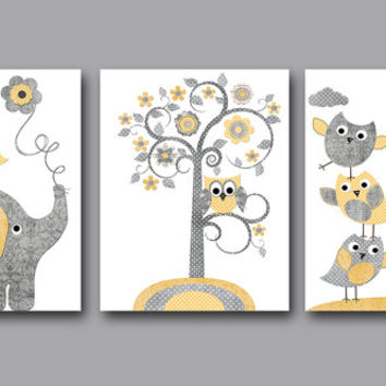 Baby Boy Nursery Art Print Children Wall Art Baby Room Decor Kids Print set of 3 8x10 Elephant Giraffe Owls Birds Tree Grey Gray Yellow
