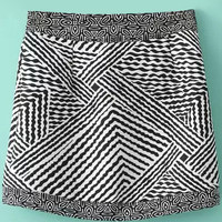 Black Retro Strips Printed Skirt