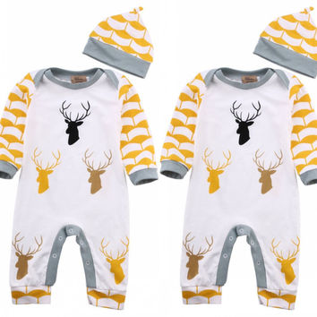 Newborn Infant Baby Boy Girl Cloes Rompers Caps Deer Romper Long Sleeve Jumpsuit Hat Outfits Clothes Autumn 0-24 M