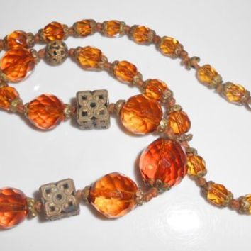 Art Deco Necklace Faceted Amber Crystal Graduating Beads Flower Caps and Filigree Findings