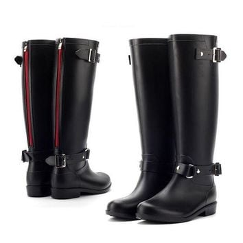 QIYIF pvc women rain boots girls ladies rubber shoes for casual walking hunting hunter outdo  number 1