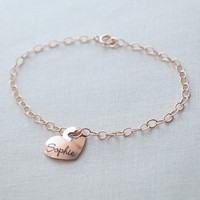 Engraved Heart Name Bracelet
