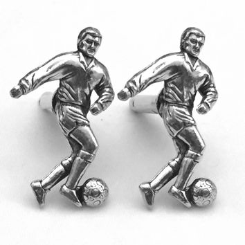 Soccer Player Cuff Links, Football Cufflinks, Men's Cuff Links, Wedding Cuff Links, Father's Day, Graduation