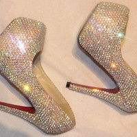 Sparkly AB Crystal Prom, Sweet 16, Bride, Bridesmaid Shoes Any Size Any Style Any Colour