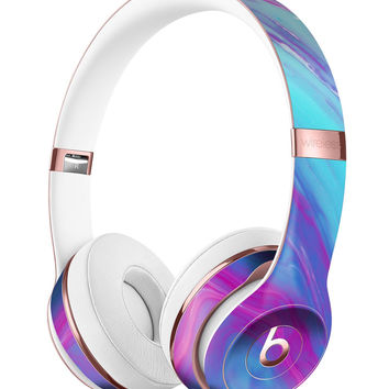 Marbleized Pink Ocean Blue v32 Full-Body Skin Kit for the Beats by Dre Solo 3 Wireless Headphones