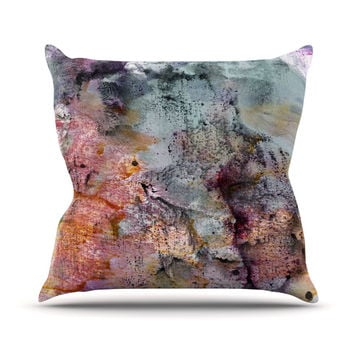 "Iris Lehnhardt ""Floating Colors"" Teal Brown Outdoor Throw Pillow"