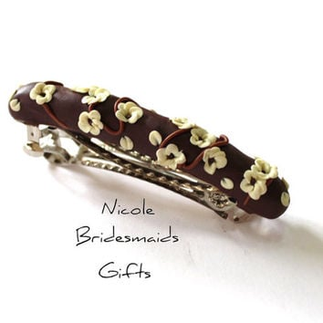Brown Vanilla Caramel automatic Barrett, Bridesmaid gift, Mother's Barrett, Hand Sculpted Barrette, Blossoms Automatic French Hair Barrette,
