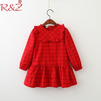 R&Z Baby Girls Dress 2018 Korean Spring Cotton Long Sleeve  Folds Lattice Peter Pan Collar for Kids Dresses Children's Clothing