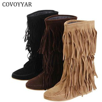 COVOYYAR Hot 3 Layers Fringe Boots 2017 Low Heel Tassel Moccasin Flat Mid-Calf Women Boots Plus Size 35~43 Drop Ship  WBS16