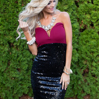 Sequins Strapless Holiday Pencil Tube Dress Black/Burgundy