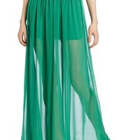 Robbi & Nikki Women's Shirred Maxi Skirt, Emerald, 2