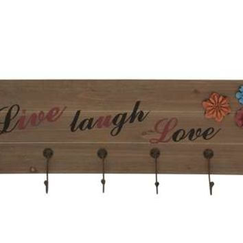 Classy Wooden Floral Metal Wall Hook Panel