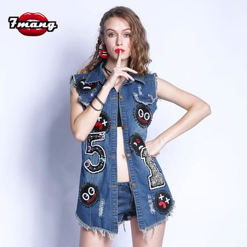 7mang 2017 new summer street party smile face badge hole denim vest punk turn down collar beading long sexy jeans vest