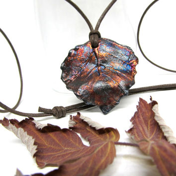 Eco Friendly Long Leaf Necklace, Copper Raku Ceramic and Pottery Pendant, Nature Inspired Tunic Length Leaf Necklace Jewelry Handmade in USA